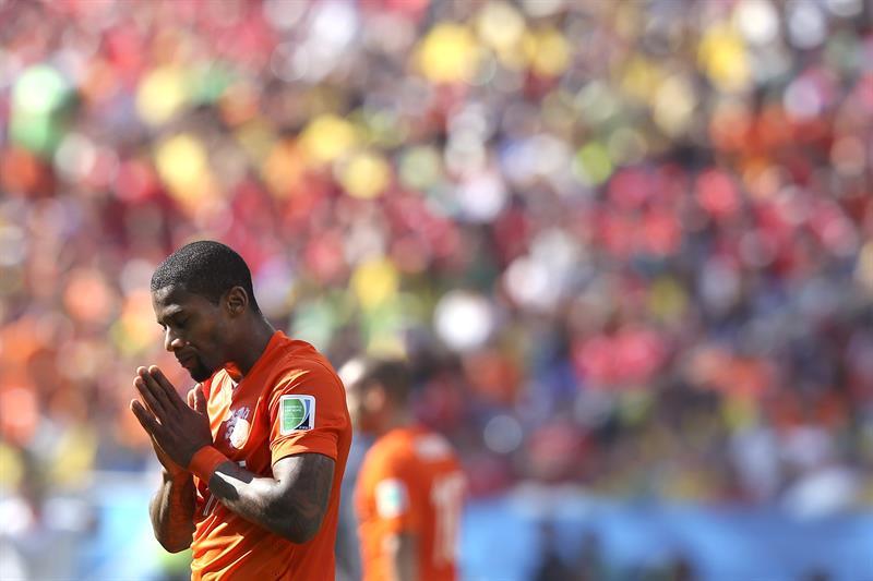 El delantero holandés Jeremain Lens, durante el partido Holanda-Chile, del Grupo B. EFE
