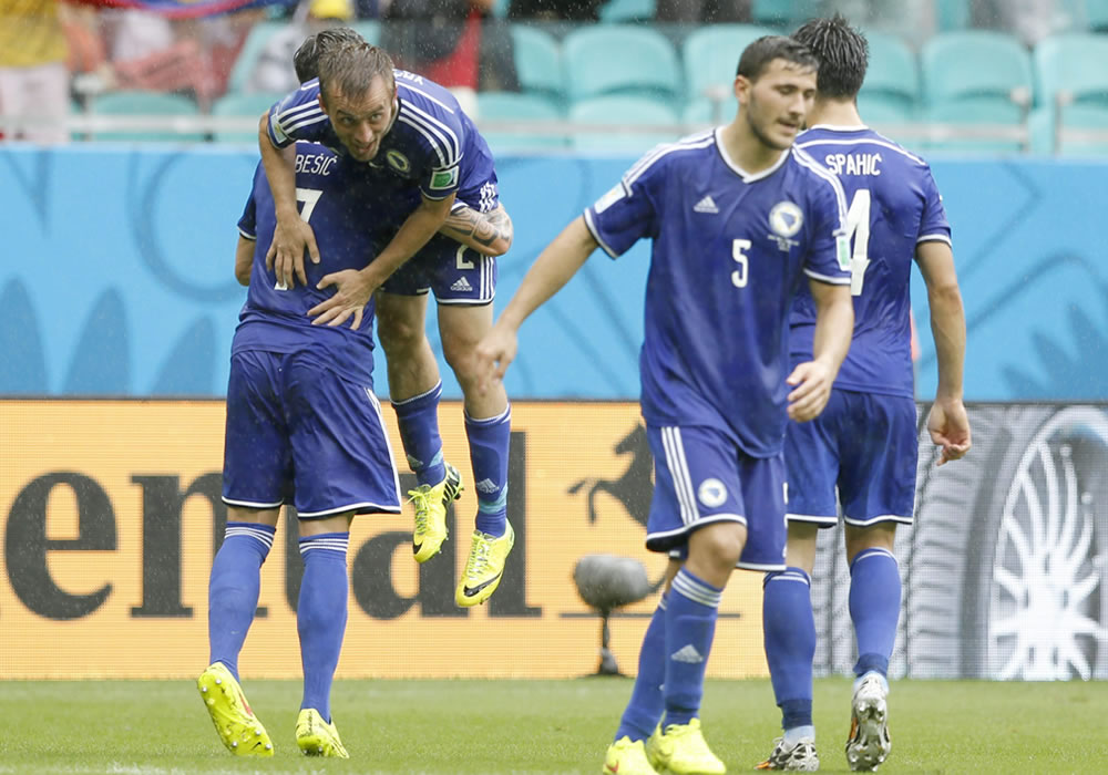 Avdija Vrsaljevic (L, top) celebrates with team-mates after scoring the 3-1 goal of Bosnia-Herzegovina during the FIFA World Cup 2014 group F. EFE