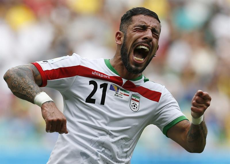 Ashkan Dejagah of Iran reacts during the FIFA World Cup 2014 group F preliminary round match between Bosnia and Herzegovina and Bosnia. EFE