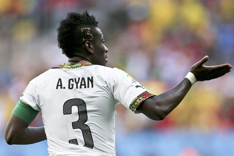 Ghana player Asamoah Gyan celebrates a goal against Portugal during the FIFA World Cup 2014 group G. EFE