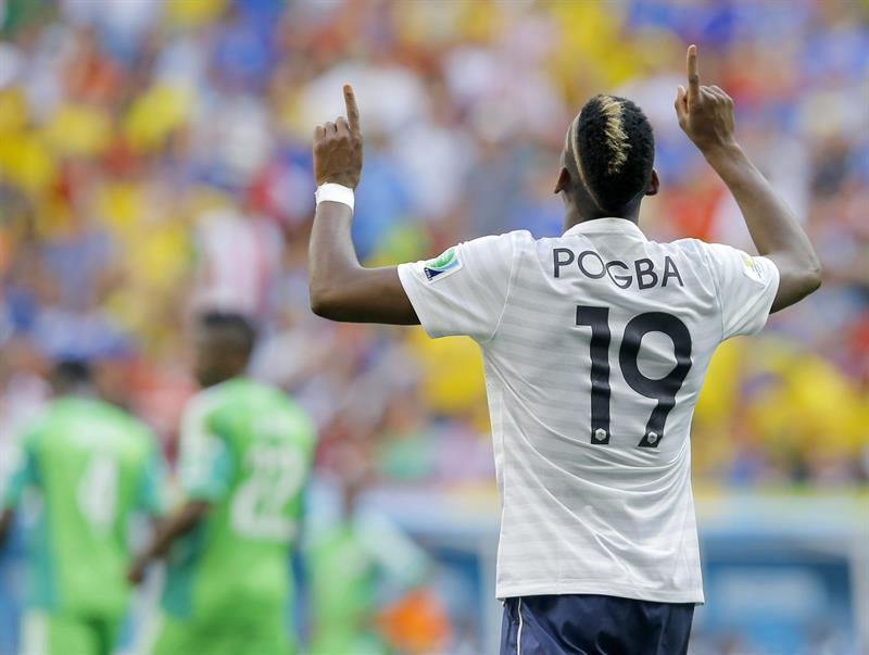 Paul Pogba of France celebrates his 1-0 goal during the FIFA World Cup 2014 round of 16 match between France and Nigeria at the Estadio Nacional in Brasilia. EFE