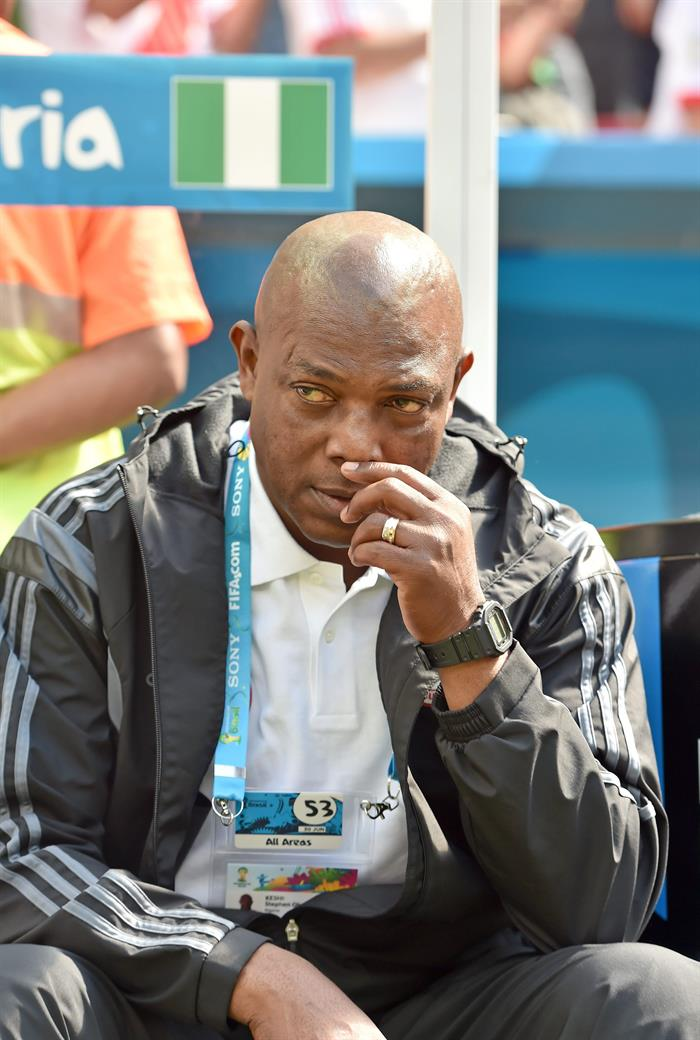 Nigeria's head coach Stephen Keshi prior the FIFA World Cup 2014 round of 16 match between France and Nigeria at the Estadio Nacional in Brasilia. EFE