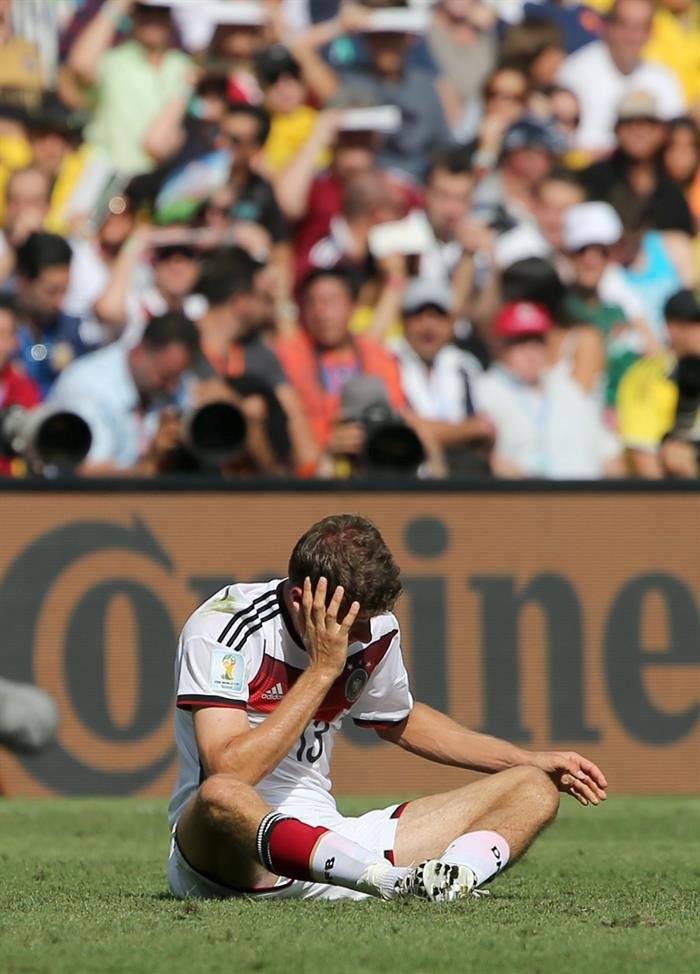 Thomas Mueller of Germany reacts during the FIFA World Cup 2014. EFE