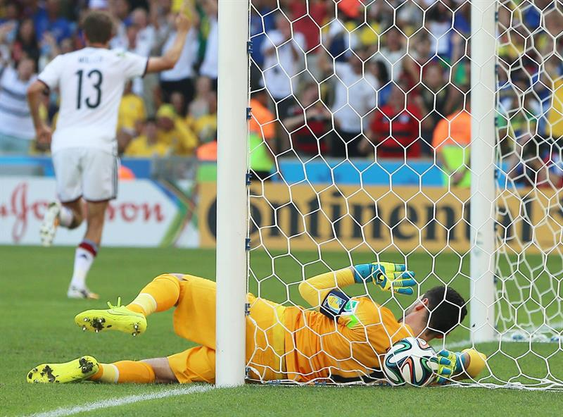 France's goalkeeper Hugo Lloris lies with the ball in the net after having received the 0-1 during the FIFA World Cup 2014. EFE