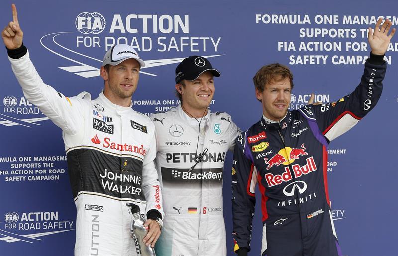 El podio de clasificación del Gran Premio de Gran Bretaña. Foto: EFE
