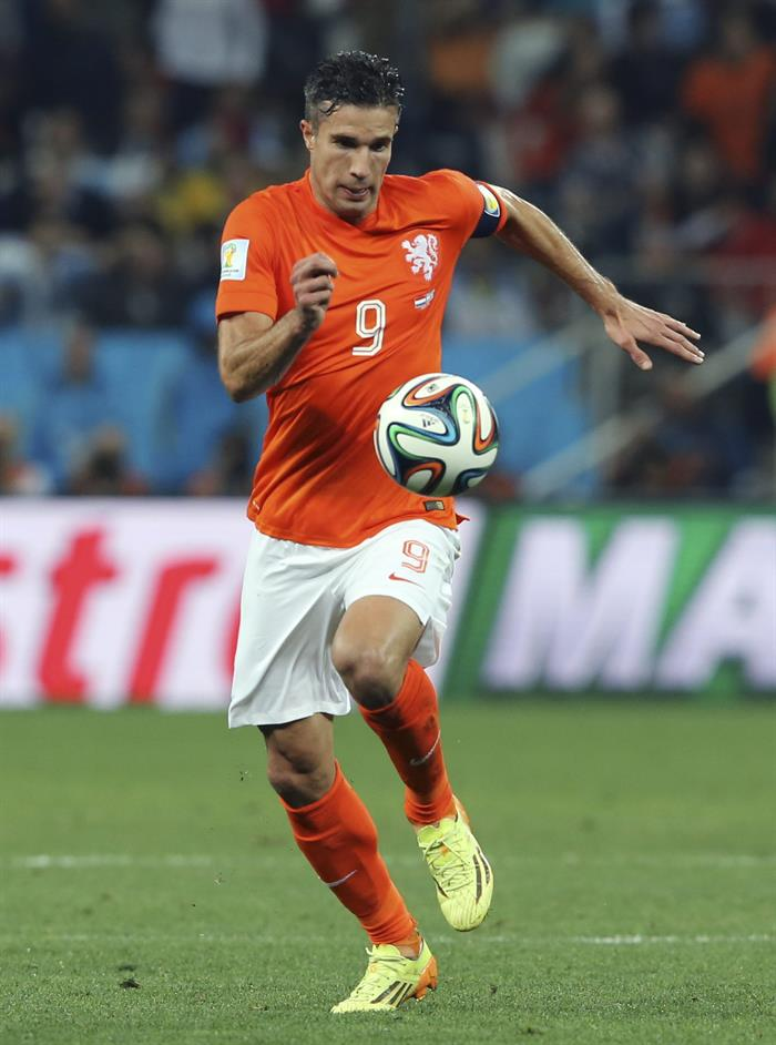 El delantero holandés Robin van Persie, durante el partido Holanda-Argentina. Foto: EFE