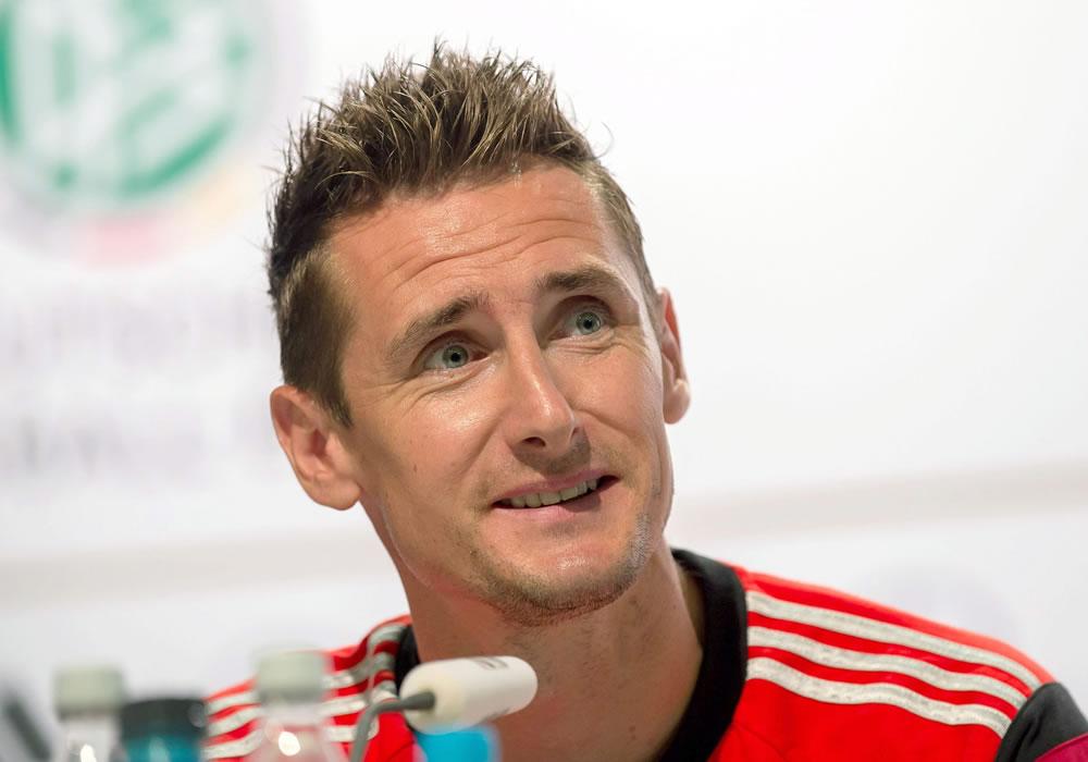 El delantero Miroslav Klose, convertido en el máximo goleador en la historia de los Campeonatos del Mundo. EFE