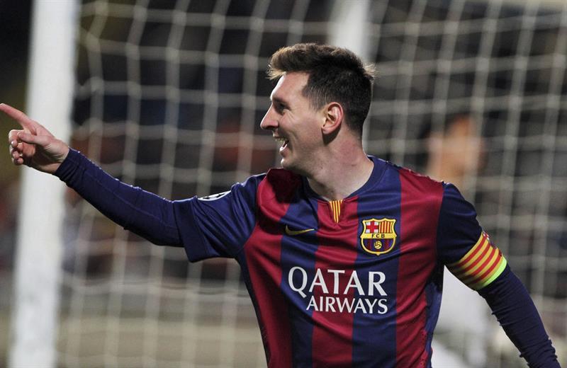 El delantero argentino del FC Barcelona Lionel Messi celebra el gol conseguido ante el Apoel. Foto: EFE