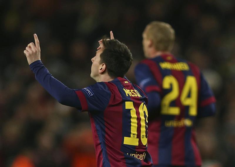 Messi, Neymar y Suárez; los tres goles sudamericanos en la Champions. Foto: EFE