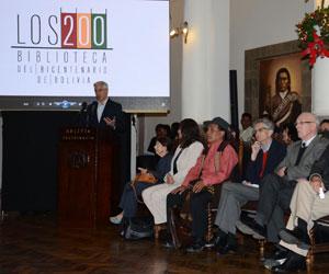 G. Linera presenta 200 libros de la Biblioteca del Bicentenario