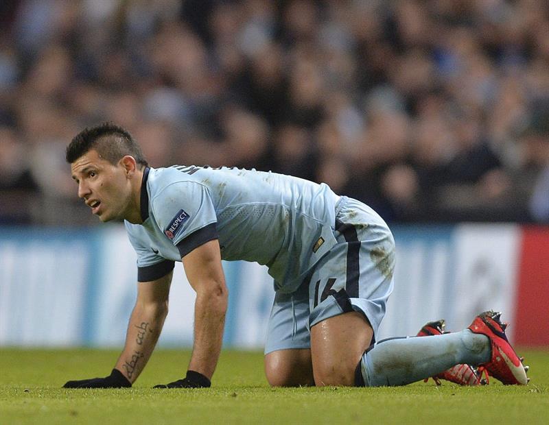 El delantero argentino Sergio 'Kun' Agüero del Manchester City durante el partido de ida de octavos de final. Foto: EFE