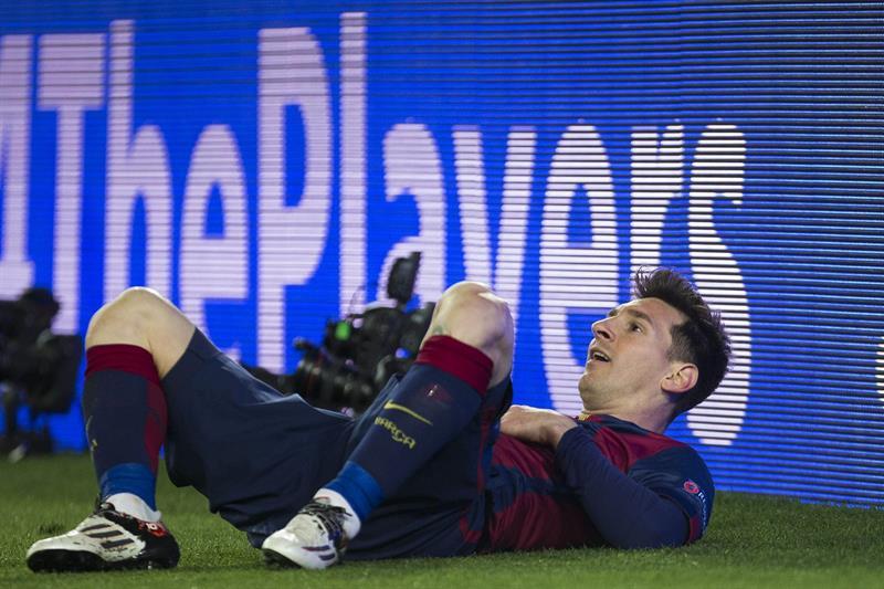 El delantero argentino del F. C. Barcelona, Leo Messi, durante el encuentro correspondiente a la vuelta de los octavos. Foto: EFE