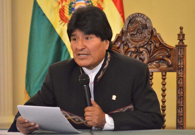 El presidente de Bolivia, Evo Morales, en conferencia de prensa en Palacio de Gobierno. Foto: ABI