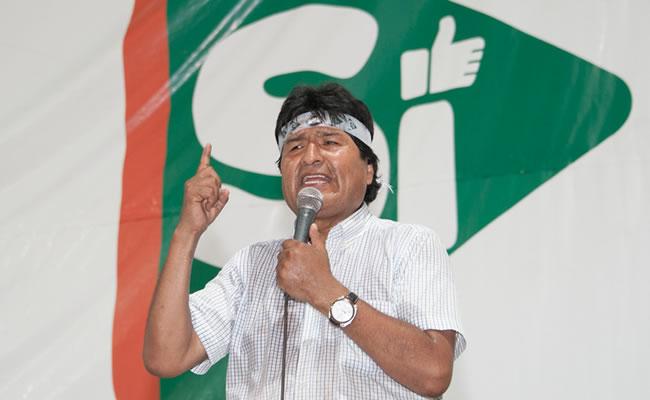 Evo Morales sigue en campaña por el SÍ. Foto: ABI