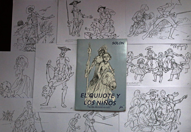 Una de las exposiciones en la Casa Museo Solón. Parte de los  centenares de Quijotes dibujados y pintados por Walter Solón. Foto: EFE