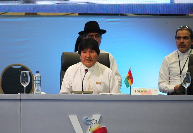 El presidente Evo Morales durante la cumbre del Celac. Foto: ABI