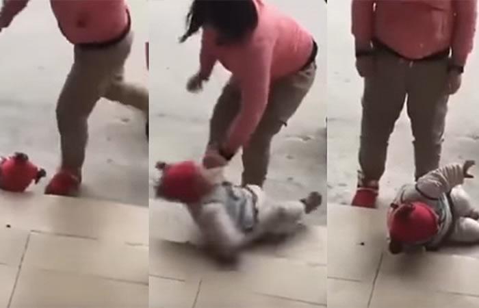 China: Indignante vídeo de una mujer que patea a su bebé por llorar