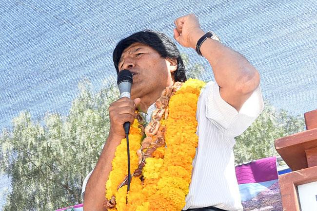El presidente Evo Morales durante un acto en el municipio de Camargo, departamento de Chuquisaca. Foto: ABI