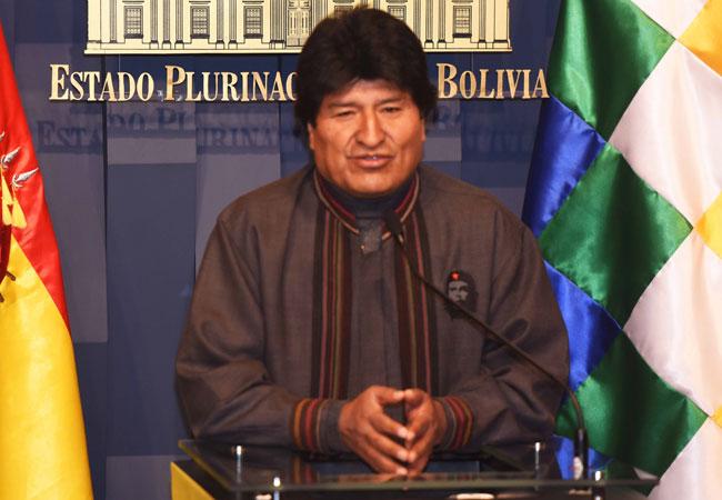 El presidente de Bolivia Evo Morales, en conferencia de prensa. ABI