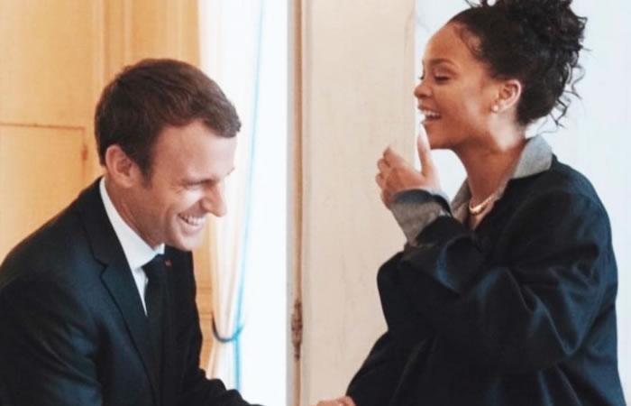 Macron y Rihanna. Foto: Instagram