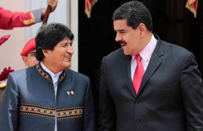 Los presidentes Evo Morales de Bolivia y Nicolás Maduro de Venezuela durante un encuentro en marzo pasado en Caracas, Venezuela. Foto: ABI/Archivo