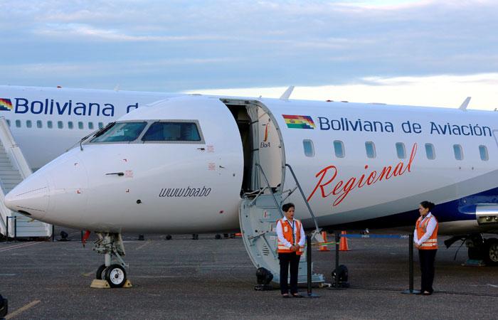 La estatal Boliviana de Aviación es la principal línea aérea dentro del territorio nacional. Foto. Foto: ABI
