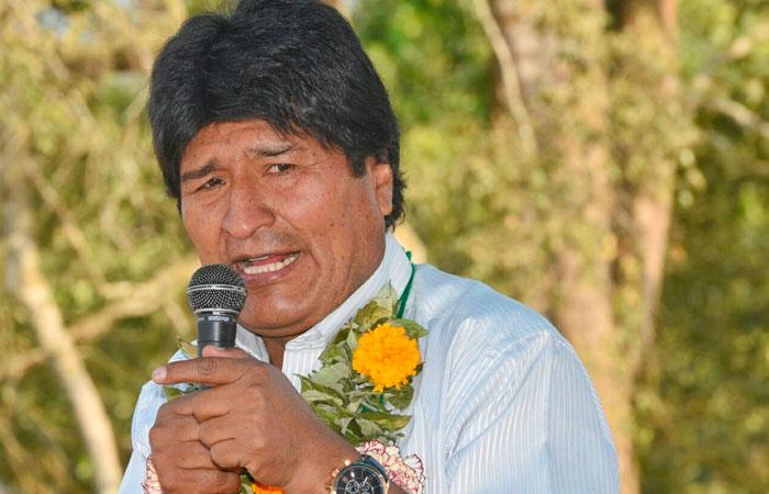 El presidente Evo Morales durante un acto en la comunidad de San Antonio de las Rosas, en el municipio de Caraparí, departamento de Tarija. Foto: ABI