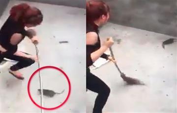 Facebook: La impactante pelea entre una enorme rata y una joven