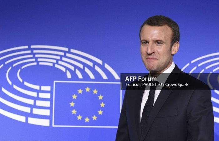 El presidente francés Emmanuel Macrons visita Estrasburgo. Foto: AFP