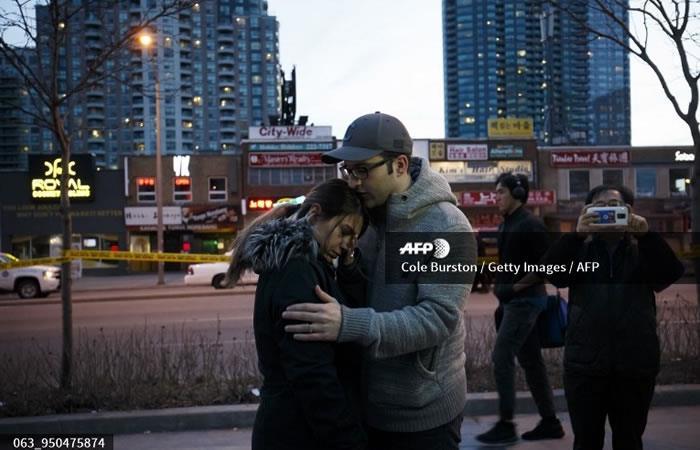 Yonge St. en Finch Ave., después de que una camioneta atropelló contra los peatones en Toronto. Foto: AFP