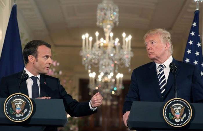 El presidente de EEUU, Donald Trump, junto a su homólogo de Francia, Emmanuel Macron, durante una conferencia de prensa en la Casa Blanca en Washington. Foto. AFP.