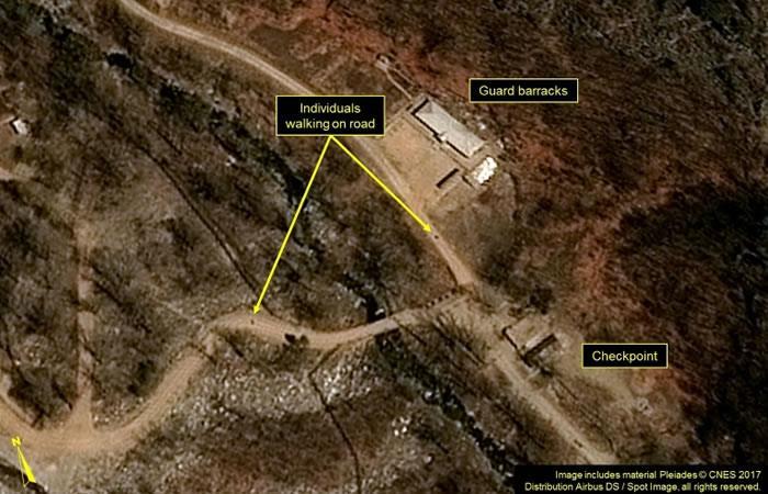 Imagen vía satélite tomada el 12 de abril de 2017 del centro de pruebas nucleares norcoreano de Punggye-ri. Foto: AFP