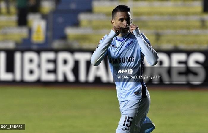 El español Juan Miguel Callejon de Bolivia celebra después de marcar contra Ecuador Delfin. Foto: AFP