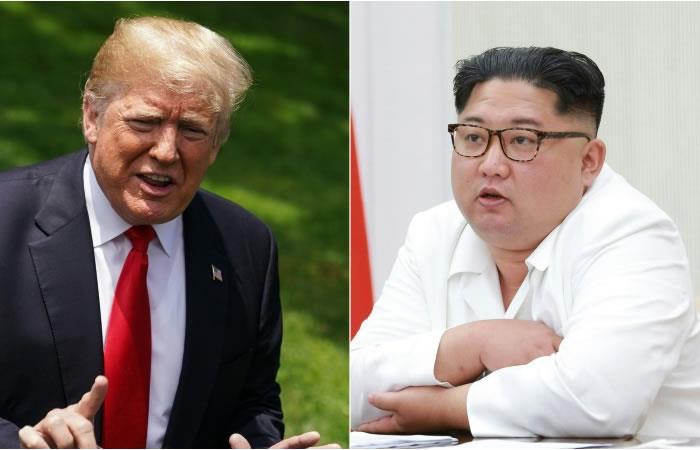 Imágenes del presidente estadounidense Donald Trump y el líder norcoreano Kim Jong Un. Fotos. AFP.