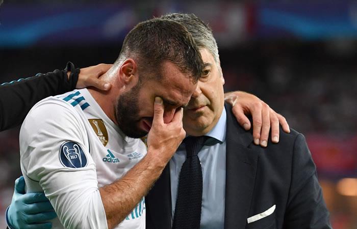Dani Carvajal llora tras la lesión. Foto: AFP