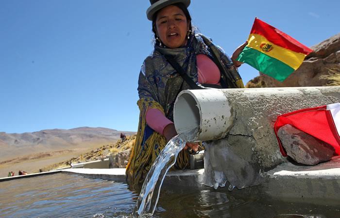 Morales apeló a la resolución que aprobó la ONU a petición de Bolivia en 2010, por la cual se consideró como un derecho humano básico el acceso al agua potable. Foto: EFE