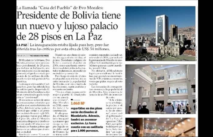Gobierno deplora publicación de 'El Mercurio' sobre Evo y la Casa Grande del Pueblo