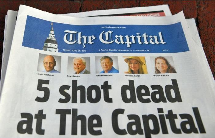 La edición del periódico The Capital Gazette del 29 de junio de 2018, fotografiado en Annapolis, Maryland, Estados Unidos. Foto. AFP.