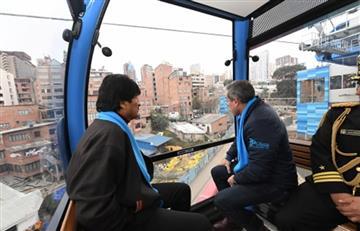 """Evo Morales estrena """"Línea Celeste"""" del Teléferico"""