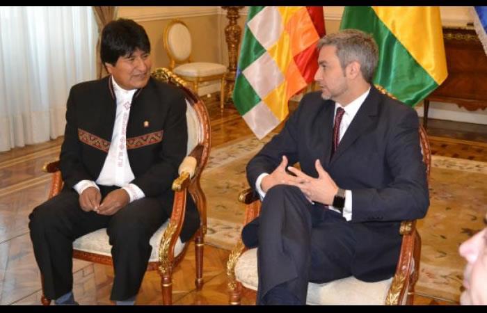 Evo Morales y Mario Abdo Benítez. Foto: ABI