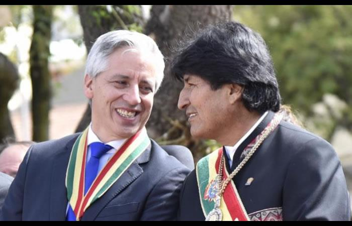Evo Morales y el vicepresidente García Linera. Foto: AFP