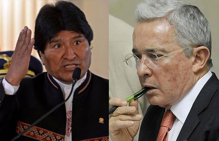 Evo Morales y Álvaro Uribe. Foto: AFP