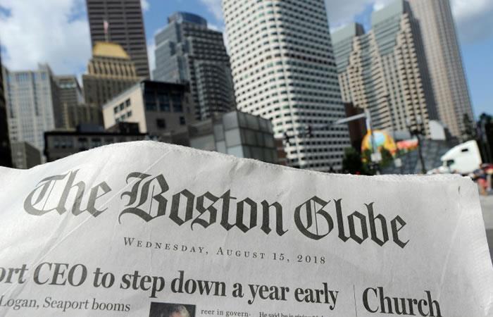 Edición del 15 de agosto de 2018 del Boston Globe. Foto. AFP.