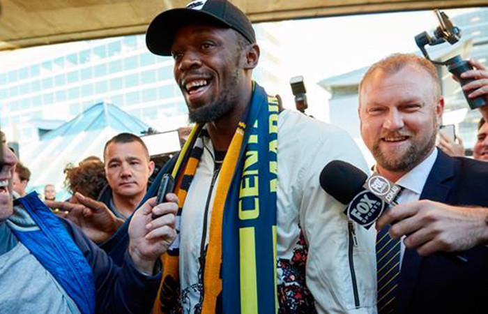 Usain Bolt llegó a Australia para probar con el Central Coast Mariners