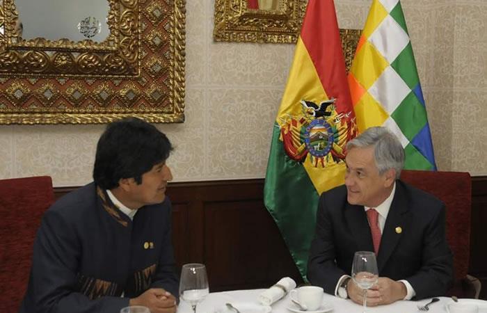 Evo Morales y Sebastián Piñera. Foto: AFP
