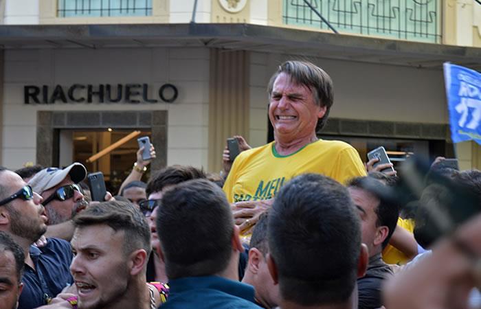 Jair Bolsonaro fue herido con cuchillo. Foto: AFP