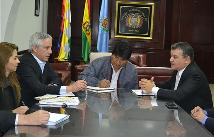 Evo Morales con los empresarios privados. Foto: ABI