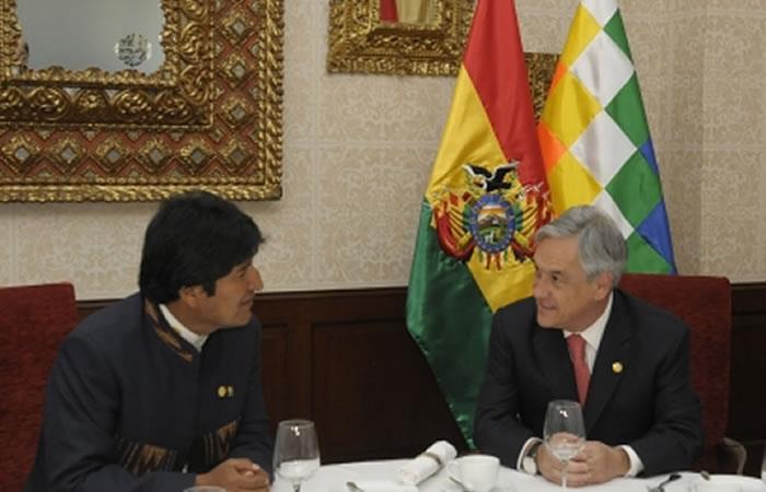 Evo Morales y Sebastián Piñera. Foto: ABI