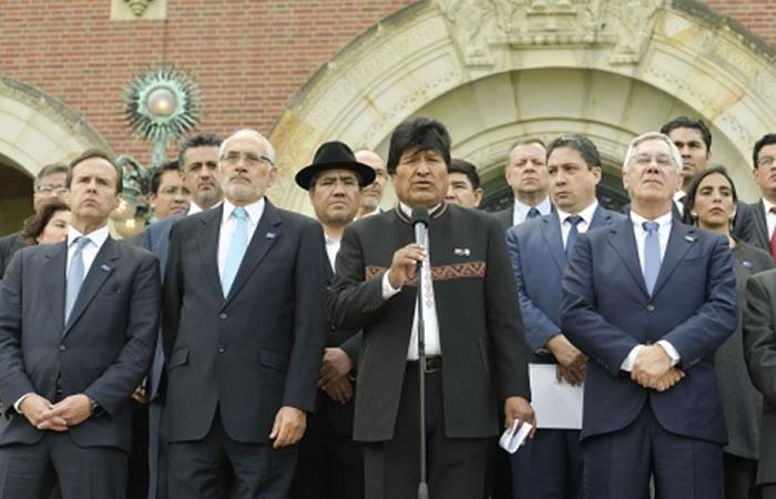 Evo Morales da declaraciones sobre el fallo de La Haya. Foto: ABI