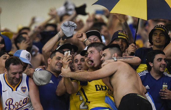 Hinchas de Boca Juniors en la Copa Libertadores. Foto: AFP